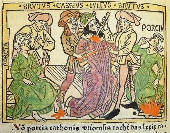 Ilustración medieval que representa el asesinato de Julio César