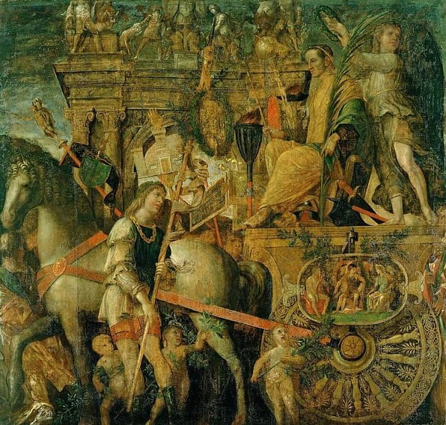 Julio César en su carruaje triunfal, obra del pintor renacentista Andrea Mantegna
