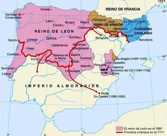 La península Ibérica al final del reinado de Alfonso VI, padre de Urraca de León