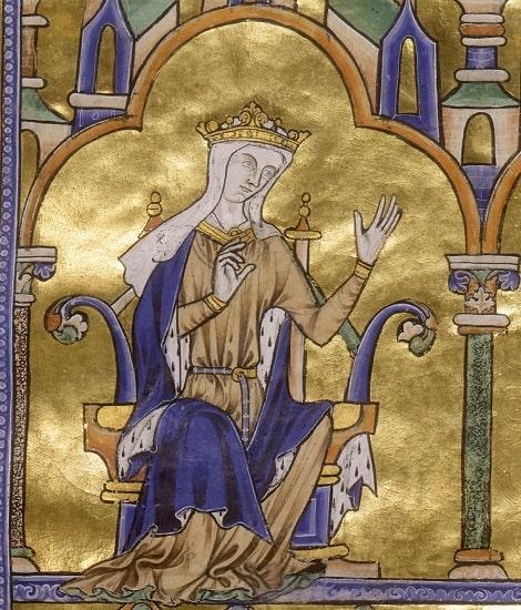 """La regente de Francia Blanca de Castilla (1188-1252), otra importante reina medieval, en la """"Biblia moralizada de Toledo"""" (aprox. 1240)"""