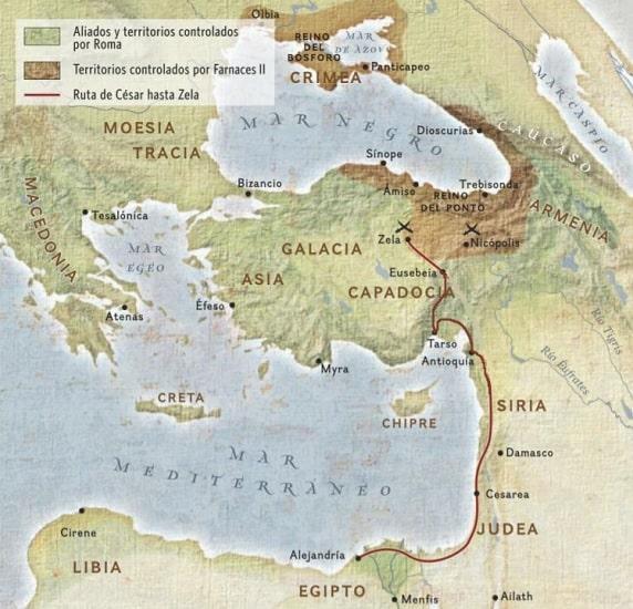 Mapa que refleja la ruta seguida por Julio César en su camino hacia la batalla de Zela