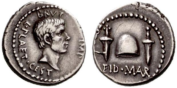 Moneda romana que celebra el asesinato de Julio César por parte de los liberatores