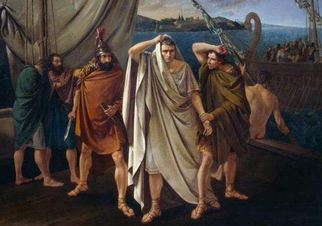 Obra del siglo XIX que recrea el momento justamente anterior al asesinato de Pompeyo Magno