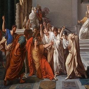 El asesinato de Julio César en los idus de marzo del 44 a.C.