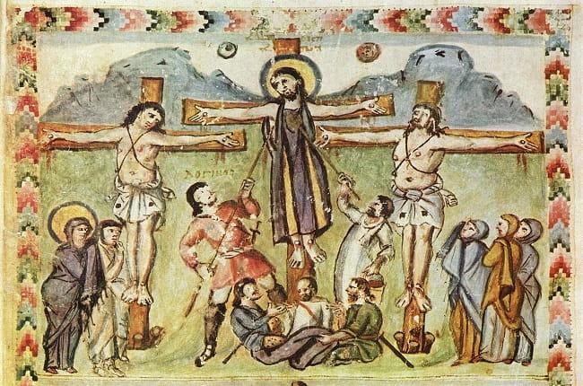 Ilustración de un manuscrito iluminado del siglo VI en el que se muestra a Jesucristo, victima de las crucifixiones en la antigua Roma