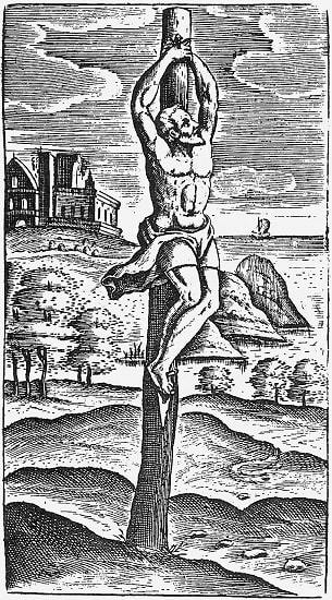 Ilustración del siglo XVI que recrea uno de los antecedentes a las crucifixiones en la antigua Roma