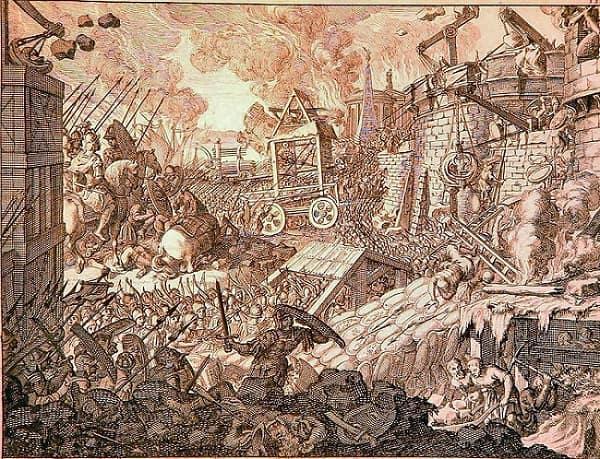Ilustración del siglo XVII que recrea el asedio de Tiro por parte de Alejandro Magno