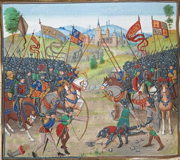 Ilustración sobre la batalla de Najera, una de las más famosas de la guerra de los Dos Pedros, aparecida en un manuscrito del siglo XV