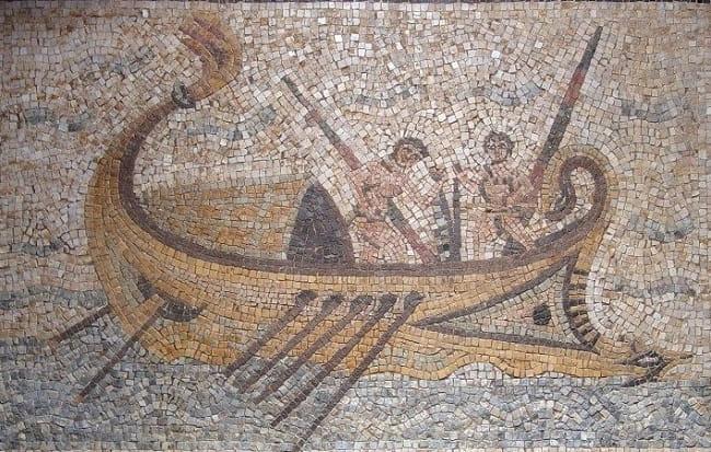 """Mosaico romano en el que aparece representado el phaselus, un tipo de embarcación romana como las que salen en """"Imperium Maris"""""""