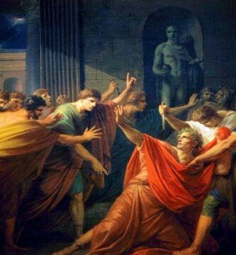 Obra de Heinrich Friedrich Füger hecha en el siglo XVIII que recrea el asesinato de Julio César por parte de Marco Junio Bruto y Cayo Casio Longino