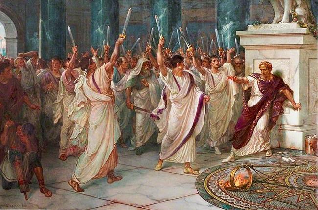 Obra de William Holmes Sullivan que recrea el asesinato de Julio César por Marco Junio Bruto y Cayo Casio Longino, entre otros