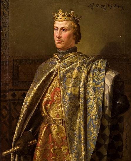 Representación del rey Pedro I de Castilla, uno de los enfrentados en la guerra de los dos pedros, hecha a mediados del siglo XIX