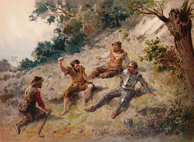 Ilustración en la que se ve a Cardenio, Sancho, Don Quijote y un cabrero conversando en Sierra Morena. Por esa época la zona de Sierra Morena era aun un sitio peligroso lleno de bandoleros, como prueba el hecho de que Sancho estuviera tan aterrorizado en un pasaje del libro que se lo hizo encima del miedo.