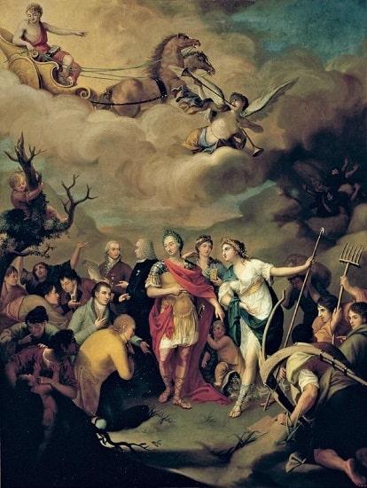 """""""Carlos III entregando las tierras a los colonos de Sierra Morena"""", obra de José Alonso del Rivero hecha en 1805"""