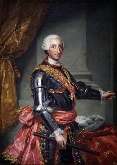Carlos III, protagonista de las Nuevas Poblaciones, retratado hacia 1765 por Anton Raphael Mengs