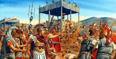 Ilustración de Steve Noon que recrea el momento de la primera batalla de Filipos