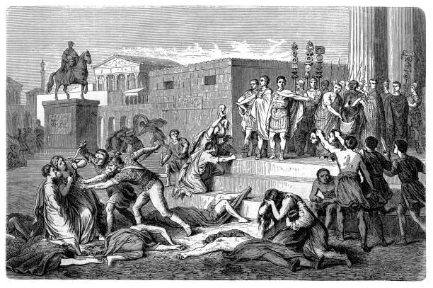 Ilustración que recrea una de las acciones y aspectos más importantes del Segundo Triunvirato romano, las proscripciones
