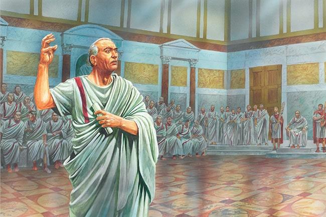 Ilustración de Peter Dennis que representa a Marco Tulio Cicerón criticando a Marco Antonio en el Senado antes de la guerra de Módena