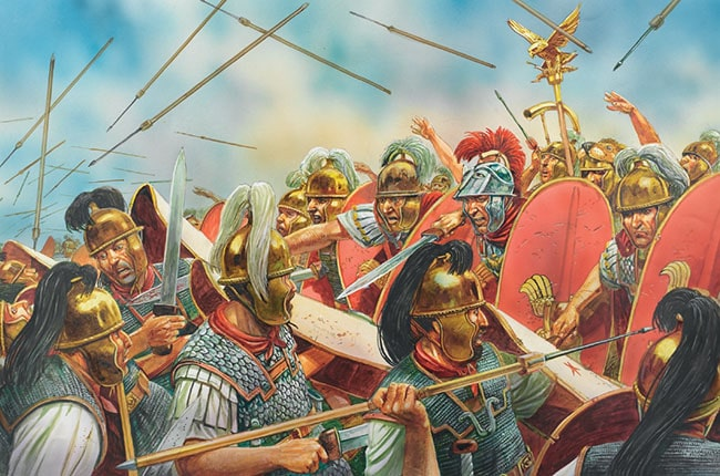 Ilustración que representa la primera batalla de Mutina, dentro de la Guerra de Módena