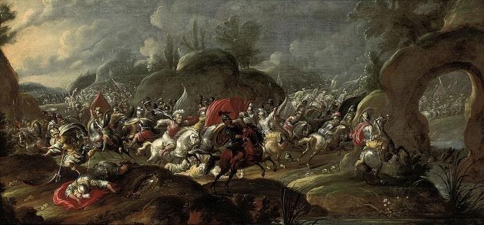 La muerte de Bruto y Casio en la batalla de Filipos, obra de Pauwels Casteels hecha en el siglo XVII