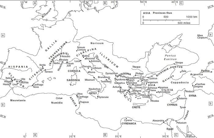 Mapa del mundo romano en el periodo de las guerras civiles (49-30 a.C.), incluyendo la batalla de Filipos