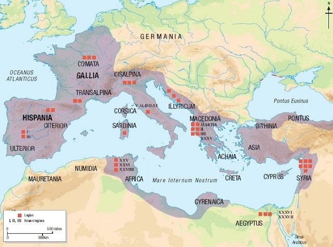 Mapa en inglés que muestra la distribución de legiones romanas por todo el Mediterráneo antes de la guerra de Módena y la batalla de Mutina