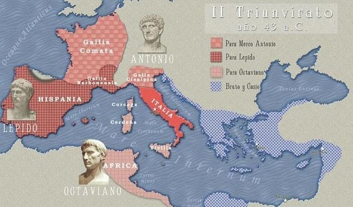 Mapa que muestra la distribución de territorios pactada en el Segundo Triunvirato romano