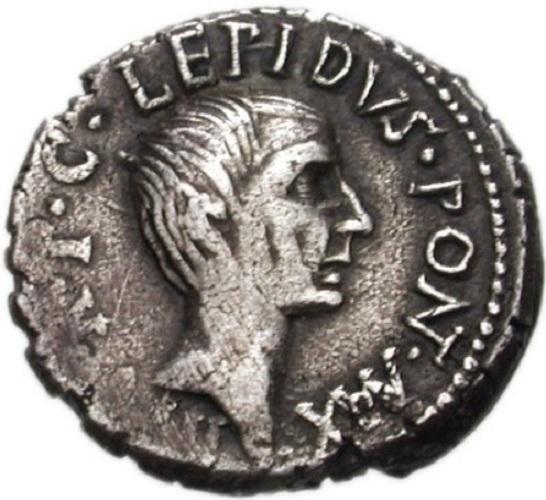 Moneda que muestra al general romano Marco Emilio Lépido, el general del segundo triunvirato de Roma