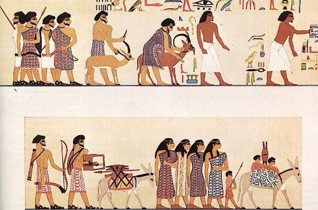 representación en una tumba egipcia de un grupo de habiru llevando ofrendas
