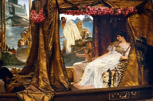 A finales del siglo XIX, el pintor Lawrence Alma-Tadema recreó el encuentro en Tarso entre Marco Antonio y Cleopatra