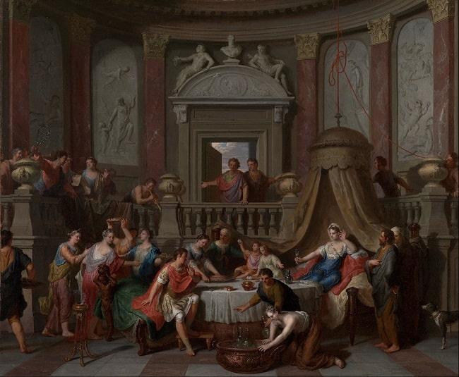 El banquete de Cleopatra y Marco Antonio, obra de Gerard Hoet hecha a finales del siglo XVII