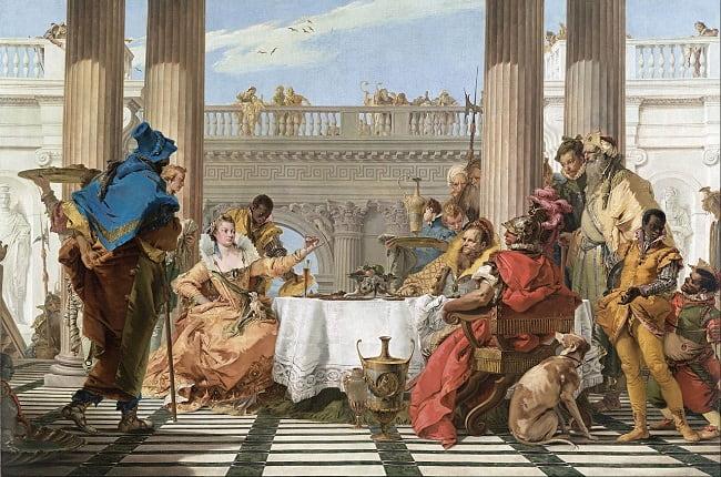 El banquete de Marco Antonio y Cleopatra, obra de Giambattista Tiepolo hecha en el siglo XVIII