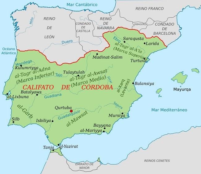 El califato omeya de Córdoba hacia el año 1000