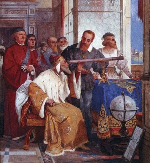 Fresco de Giuseppe Bertini (1825-1898) en el que se ve a Galileo Galilei enseñando al dux de Venecia el uso del telescopio