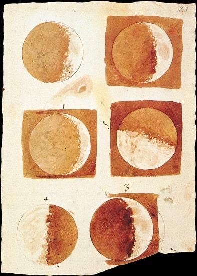 Ilustración elaborada por Galileo Galilei sobre las fases lunares