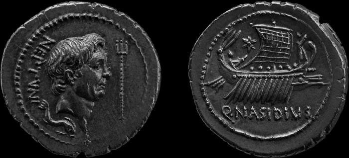 Moneda acuñada por un aliado de Sexto Pompeyo