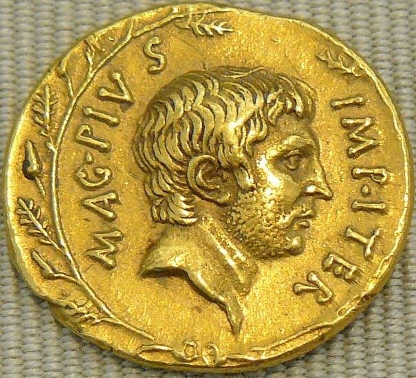 Moneda romana emitida en el 37 a.C. en la que aparece representado Sexto Pompeyo