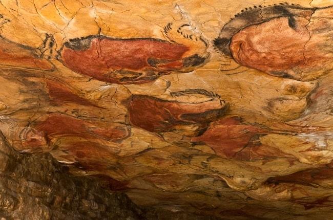Visión parcial de las pinturas rupestres del techo de la cueva de Altamira