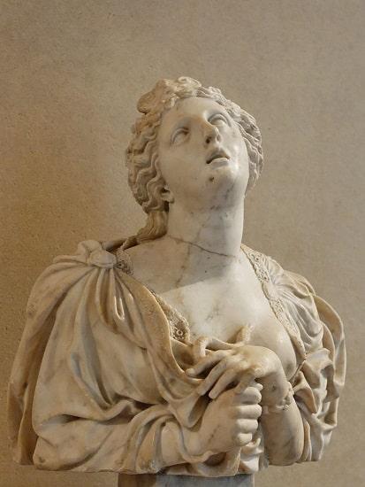 Busto de Cleopatra en el momento de suicidarse hecho por Claude Bertin en el siglo XVII