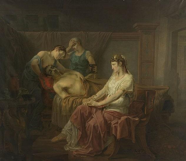 El mortalmente herido Marco Antonio en Cleopatra, obra de Louis Moritz hecha en el siglo XIX