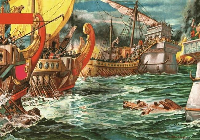 Ilustración que recrea lo que fue la batalla de Accio entre Roma y Egipto