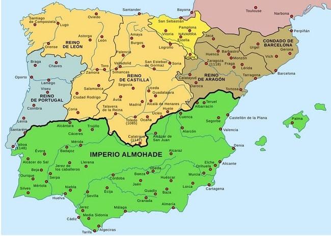 La península Ibérica tras la expansión almohade de la segunda mitad del siglo XII, antes de la batalla de las navas de tolosa