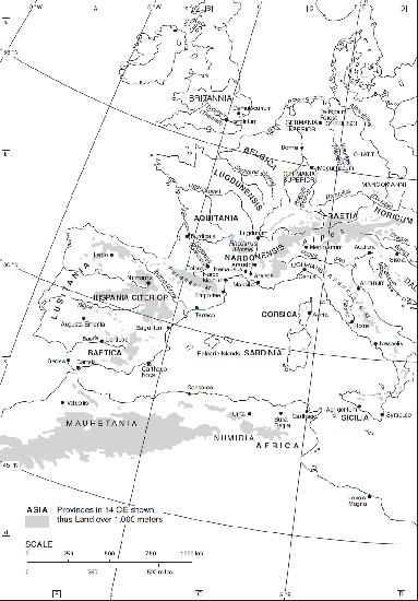 Mapa en inglés que muestra las provincias romanas occidentales a la muerte del emperador Augusto