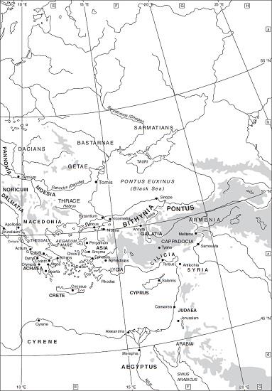 Mapa en inglés que muestra las provincias romanas orientales a la muerte del emperador Augusto