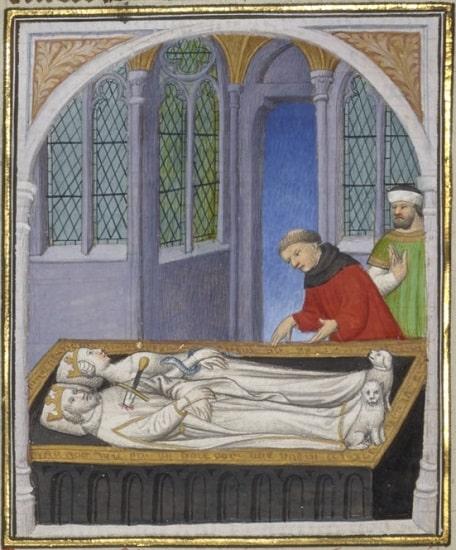 Miniatura de un manuscrito medieval en el que se representa a Marco Antonio y Cleopatra en su tumba. Él tiene una espada clavada en el torso, ella tiene una serpiente enroscada en el brazo