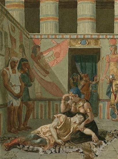 Obra de finales del siglo XIX en la que se recrea la muerte de Marco Antonio en brazos de Cleopatra tras la conquista romana de Egipto