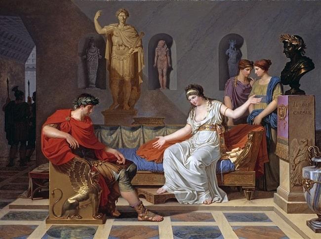 Obra hecha por Louis Gauffier en el siglo XVIII que recrea la entrevista entre Cleopatra y Octaviano en el palacio de Alejandría tras la conquista romana de Egipto