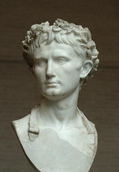 Busto de Augusto portando la corona cívica