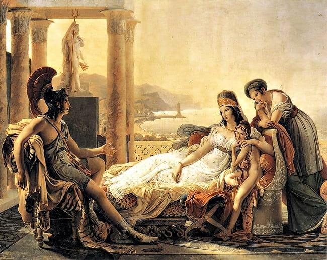 Eneas describe a Dido la caída de Troya, obra de Pierre-Narcisse Guérin hecha en el siglo XIX