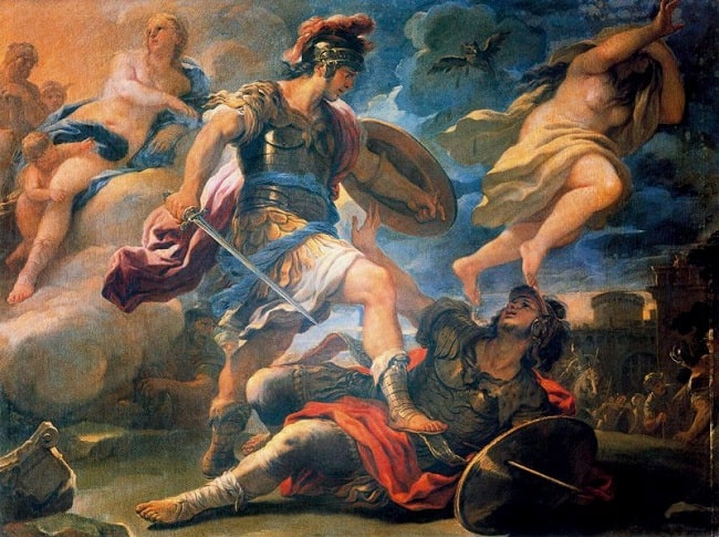 Eneas vence a Turno, obra de Luca Giordano hecha en el siglo XVII